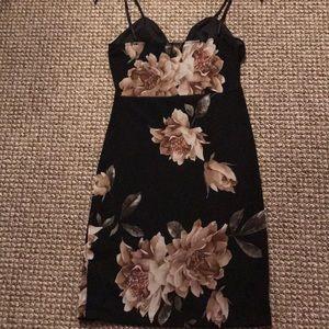 Black & Nude Floral Dress